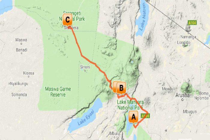 8 daagse highlights of Tanzania Prive lodge safari reis map overzicht