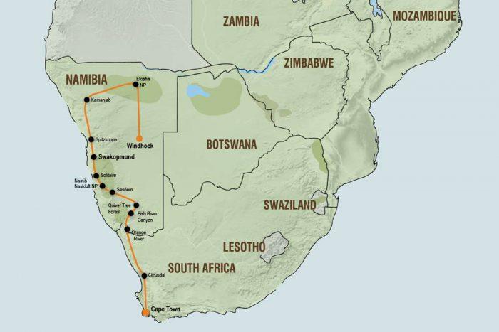 """13 DAAGSE """"BEST OF NAMIBIA"""" KAMPEER GROEPSSAFARI REIS MAP"""