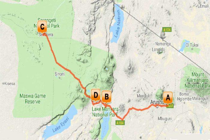 Tanzania Trails Tented Camp en Lodge groepssafari reis map