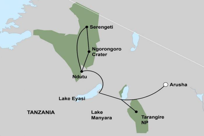 "Reismap overzicht TANZANIA WILDLIFE & CULTURAL"" LODGE GROEPSSAFARI"